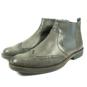 Ecco Leather Wingtip Ankle Side Zip Chelsea Boots